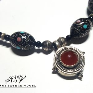 Tuareg Carnelian, Inlaid Black Coral necklace