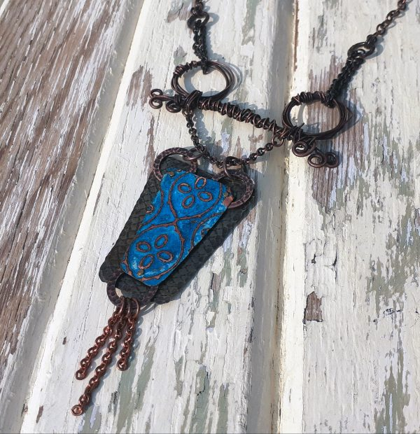 boho copper patina necklace