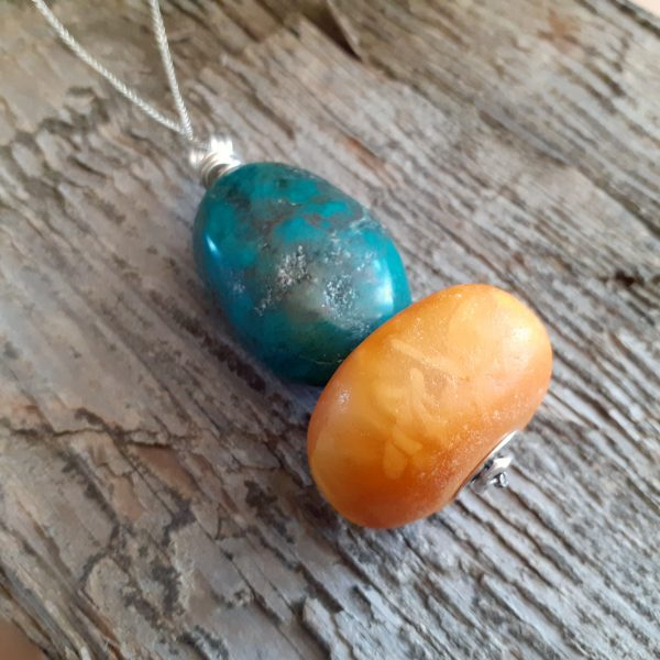Tibetan turquoise and African amber