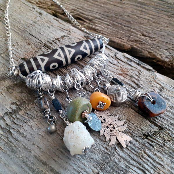 Tibetan Dzi amulet necklace