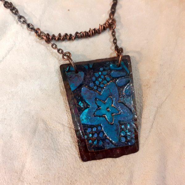 Copper patina pendant